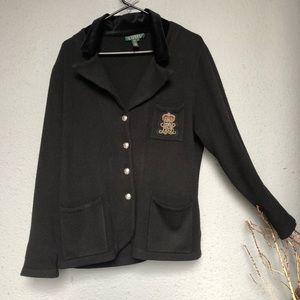 RALPH LAUREN Women's Black Blazer with Emblem